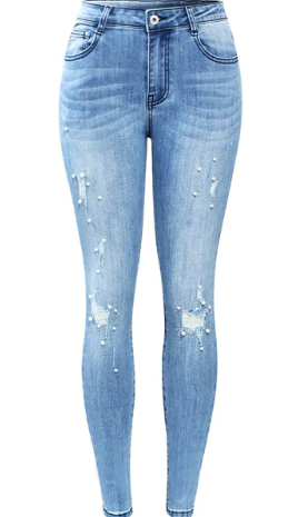 Womens Ripped With Beads Stretchy Denim Skinny Jeans
