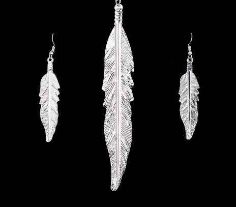 Silver Plated Jewelry set Leaves Pendant Necklace Drop Earrings Set