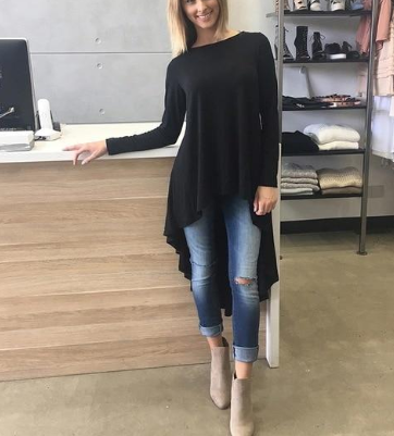Stretch Knitted Cotton O Neck Long Sleeve Drop Hem Casual Women Long Shirts For Women