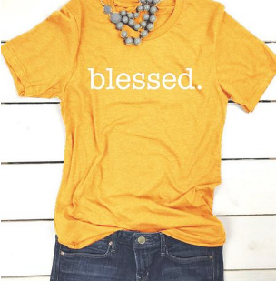 BLESSED Slogan Cotton T Shirt