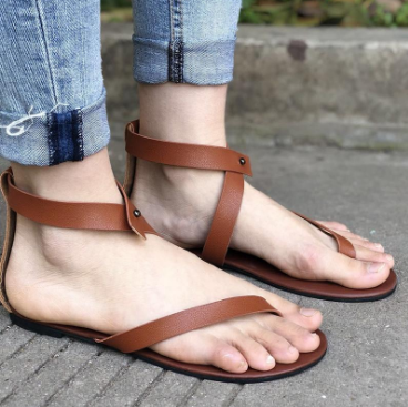 New Arrival Women Casual Sandals Black Solid Ankle Strap Flat Summer Slipper Sandles