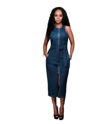 Women Denim Belted Sleeveless Dress w/ Pocket and Sash