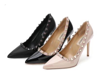 Women Rivet High Heel Stiletto Pump Shoes