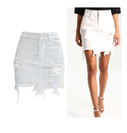 Womens Pencil Denim High Waist Ripped Jean Skirt