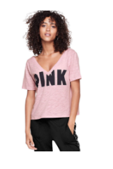 PINK Cropped Double V-Neck