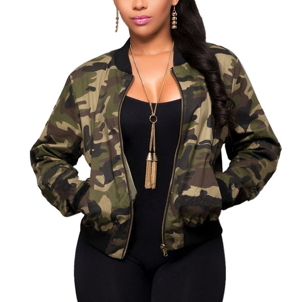 Women Long Sleeve Army Camouflage Bomber Autumn Casual Jacket