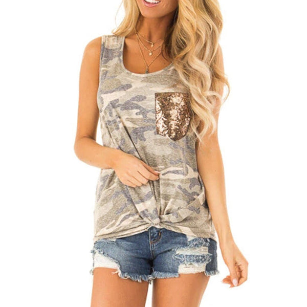 Women Army Camouflage Print Casual Women Sleeveless Tank Top