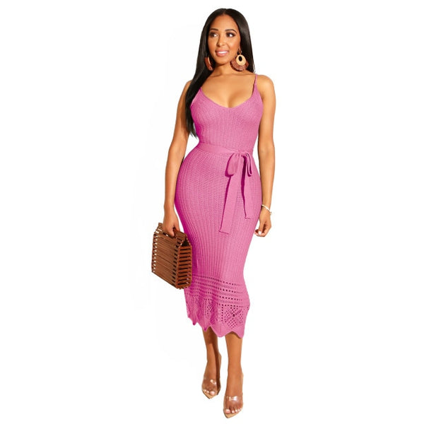 Women Sexy Spaghetti Strap Knitted Sleeveless Ribbed Bodycon Slimming Dress With Sash Belt