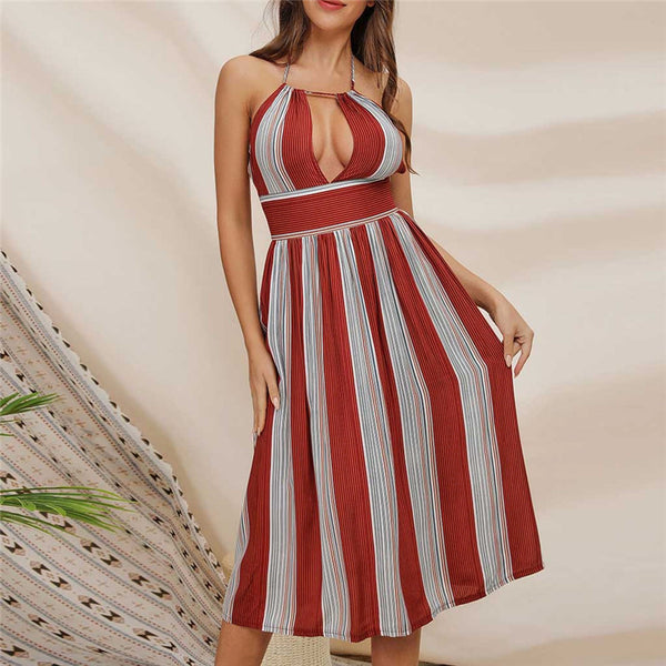 Women Fashion Off-Shoulder Sleeveless Stripe Long Dress
