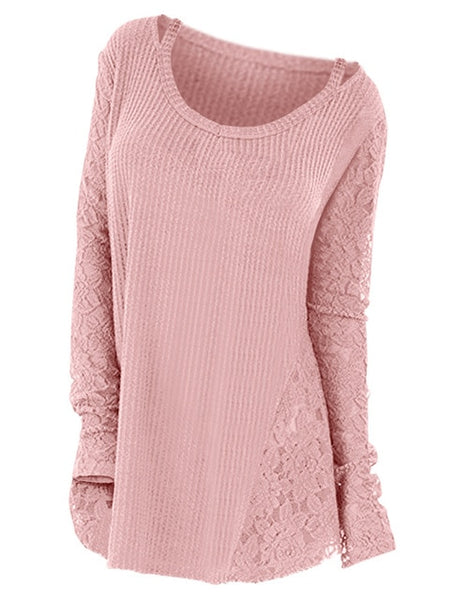 Women Floral Lace Long Sleeve Knitted Casual Sweater
