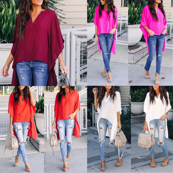 Women Elegant V-Neck Chiffon Casual Tunic Blouse