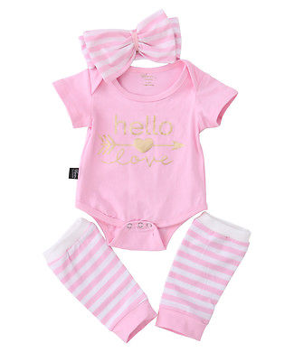 Christmas Suit ! Baby Girl Clothes Set Baby Girl Romper+Stripe Leg Warmers 3pcs Outfits Set Clothes 0-18M