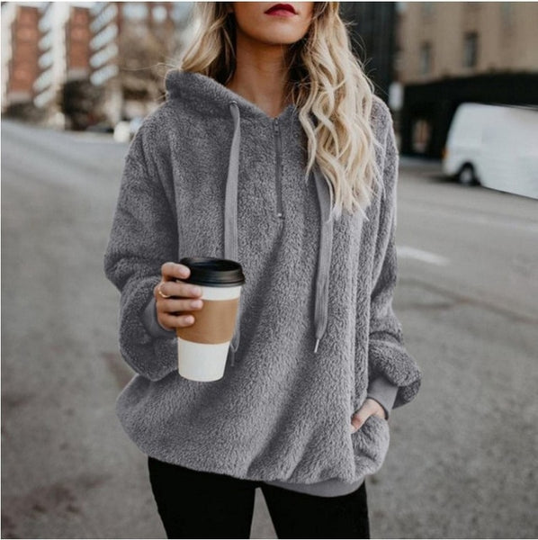 Women Fluffy Warm Winter Drawstring Hooded Casual Pullover Hoodies
