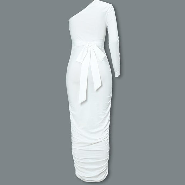 Women Elegant Fashion Sexy White Cocktail Slim One Shoulder Belted Ruched Design Body-Con Midi Dress