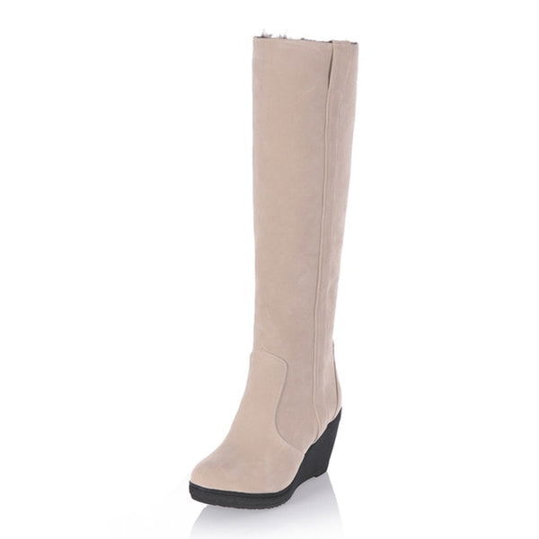 Ladies Fur High Heels Platform Knee High Snow Wedge Boots