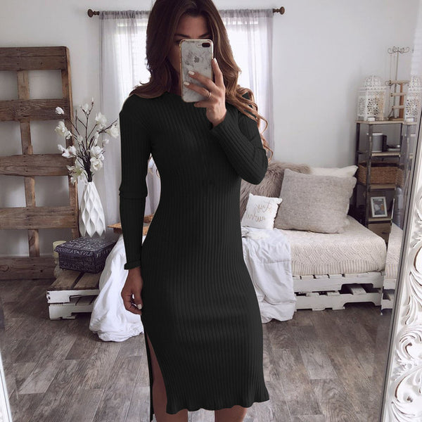 V Neck Knitted Sweater Dress Sexy Split Long Sleeve Women's Autumn Winter Slim Solid Maxi Dresses Bodycon Long Women Dresses
