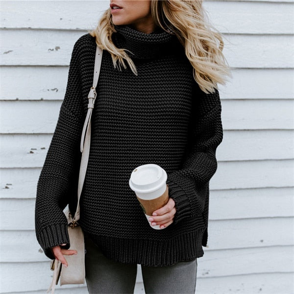 Women Pullover Turtleneck Knitted Sweater