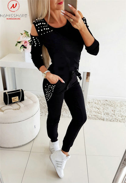 Women Casual 2 Piece Beaded O-Neck Long Sleeve Solid Top+Drawstring Slim Pencil Pants Sweatsuit