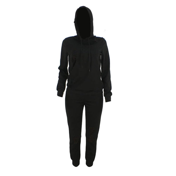 Women Fashion  Long Sleeve Hoodies Drawstring Sport Set