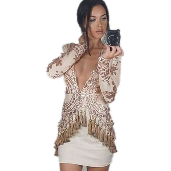Sequin V Neck Tassels Long Sleeve Bodycon Party Cocktail Elegant Dresses
