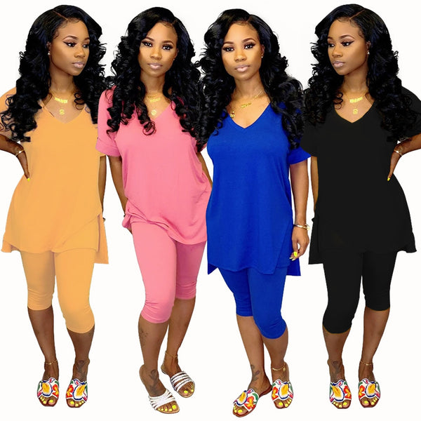 Leisure Home V-neck Two-piece Set-Available In Multiple Colors
