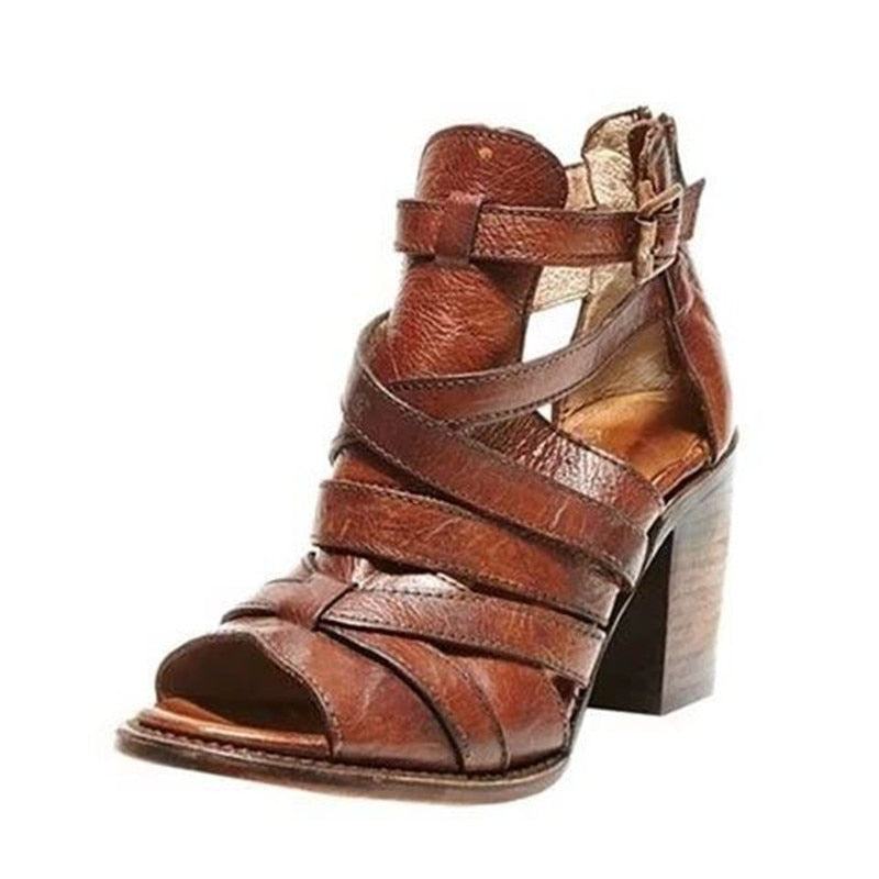 Women's Leather Platform Open Toe Ankle Casual Shoes Sandals