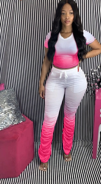 Women Two Pieces Short Sleeve Top Flared Pants 2 Piece Set