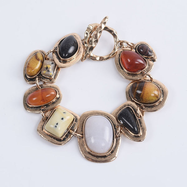 Women Bohemian Metal Hollow Stone Bracelets