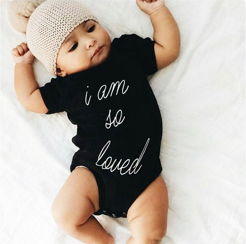 Newborn Kids Baby Rompers Handwriting Lettler Jumpsuit Boys Girls Romper Short Sleeve Cotton Jumpsuit Clothing Outfits