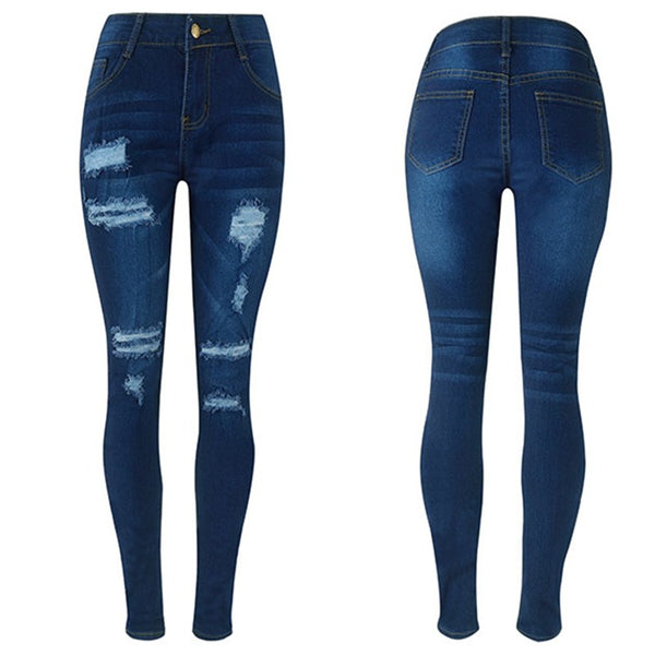 Fashion Women Ripped Hole High Waist Slim Jeans