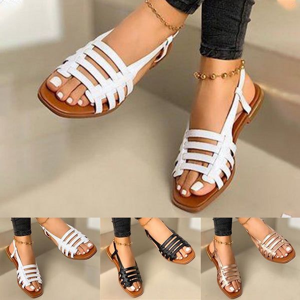 Women Gladiator Roman Open Toe Flat Sandals
