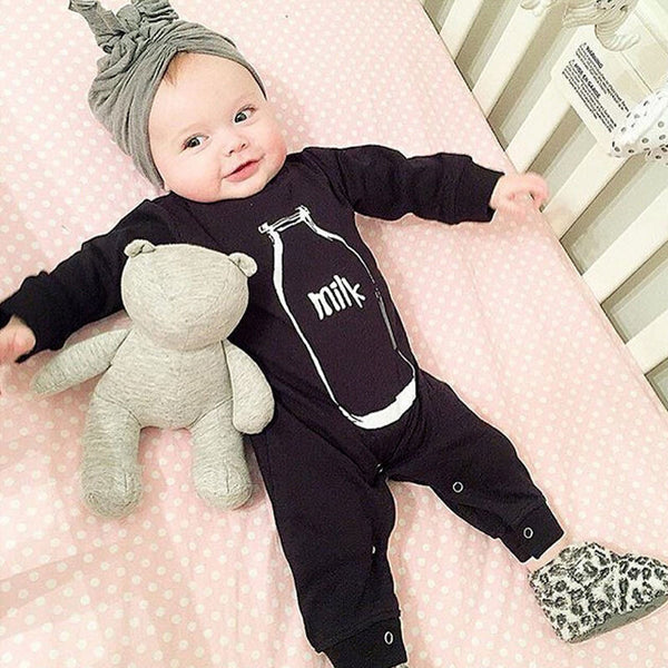 Newborn Clothes Bottle printing Baby Boy Girl Romper Long Sleeve One Piece Suit Infant Clothing Jumpsuit