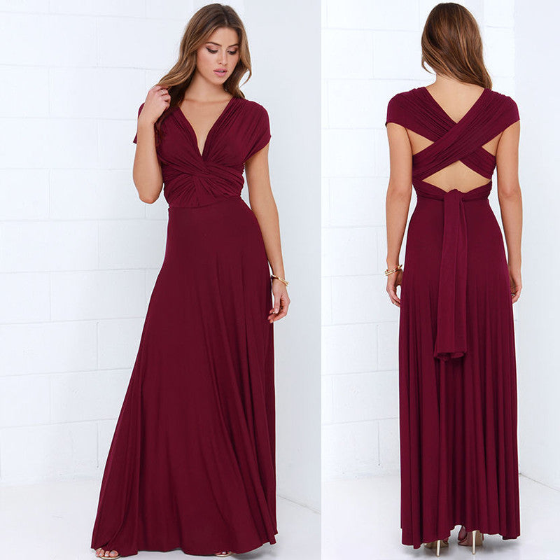 05971e8b4fb ... Summer Sexy Blush Pink Multiway Bridesmaids Convertible Dress Sexy  Women Wrap Maxi Dress Long Dress Robe ...