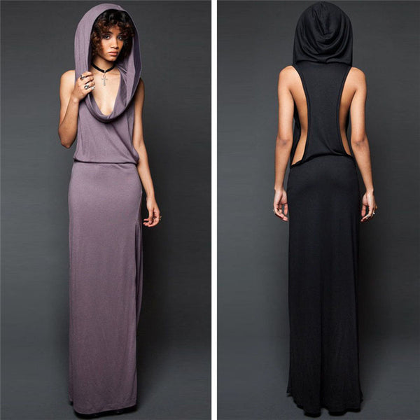 Hot Maxi Dress Women New Design Sexy Spring Hooded Sleeveless Backless Split Summer Dress