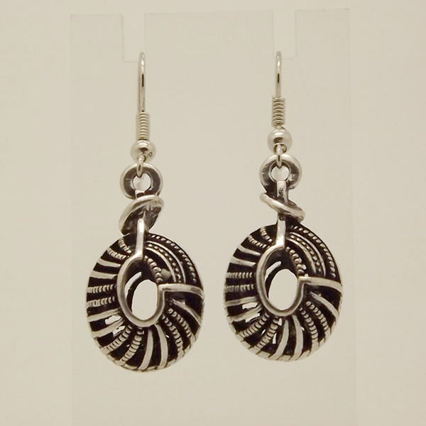 Tibetan Silver Color Hollow whorl Conch Fashion Vintage Earrings