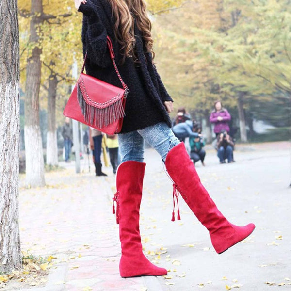 Womens Thigh High Boots Stretch Over The Knee Suede Leather Boots Flat Heels Shoes Woman Winter Boots