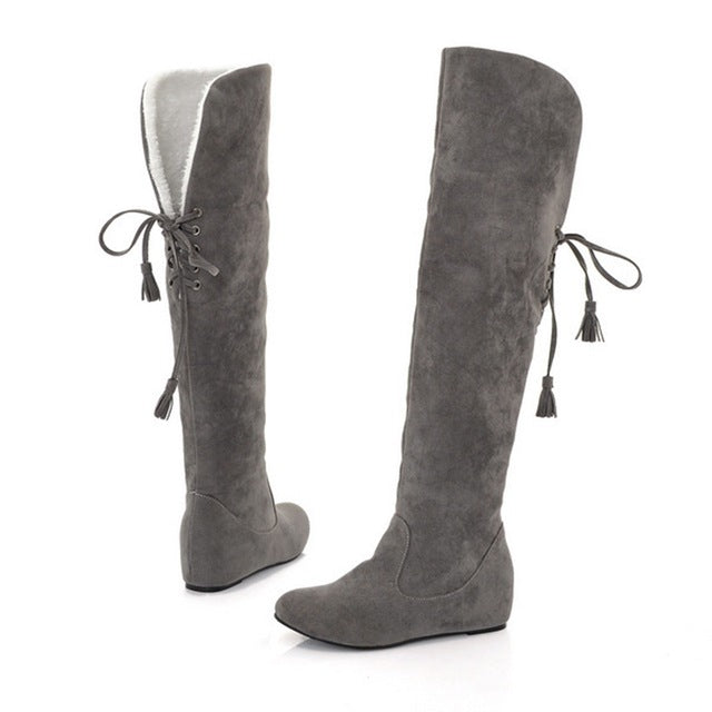 0b309d1d4853 ... Womens Thigh High Boots Stretch Over The Knee Suede Leather Boots Flat  Heels Shoes Woman Winter ...