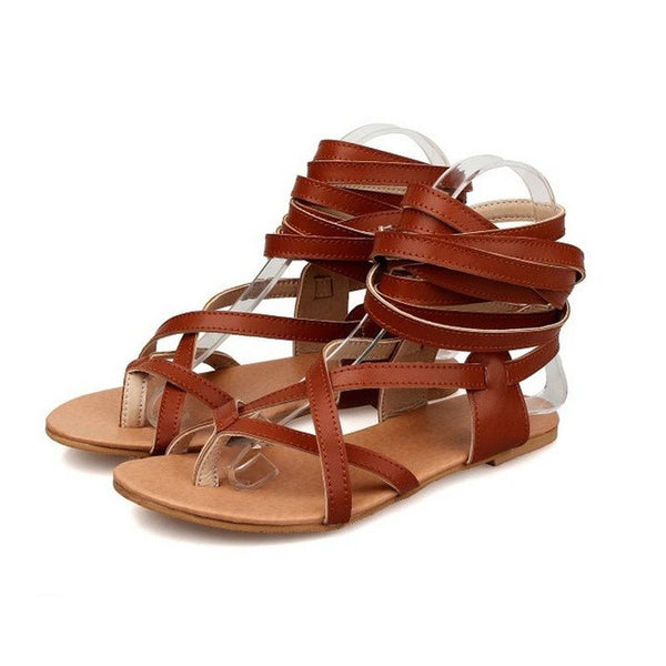 Fashion Women Shoes Classic Design Gladiator Sandals Women Flat Shoes Bohemia Lace-Up Sandals Women Sandals