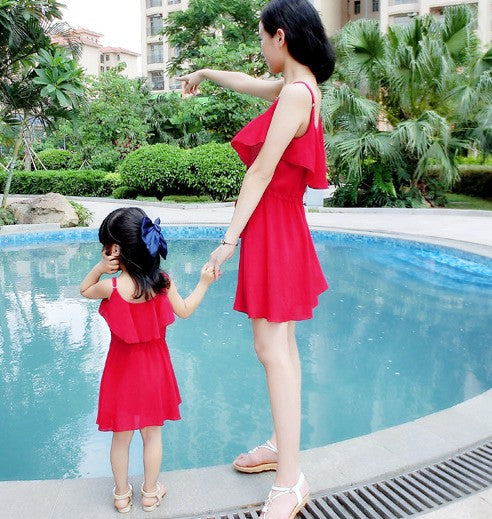 Casual Bohemia Ruffles Chiffon Mother Daughter Beach Dress