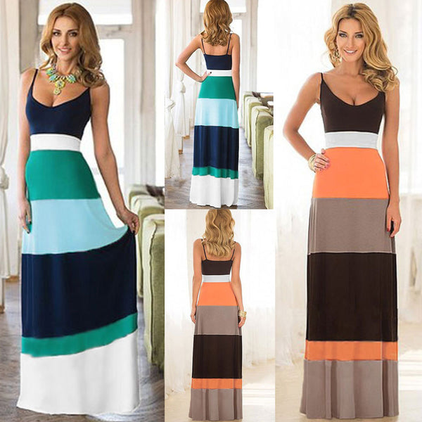 Fashion Summer Beach Sexy Women Striped Long Sleeveless Maxi Sundress