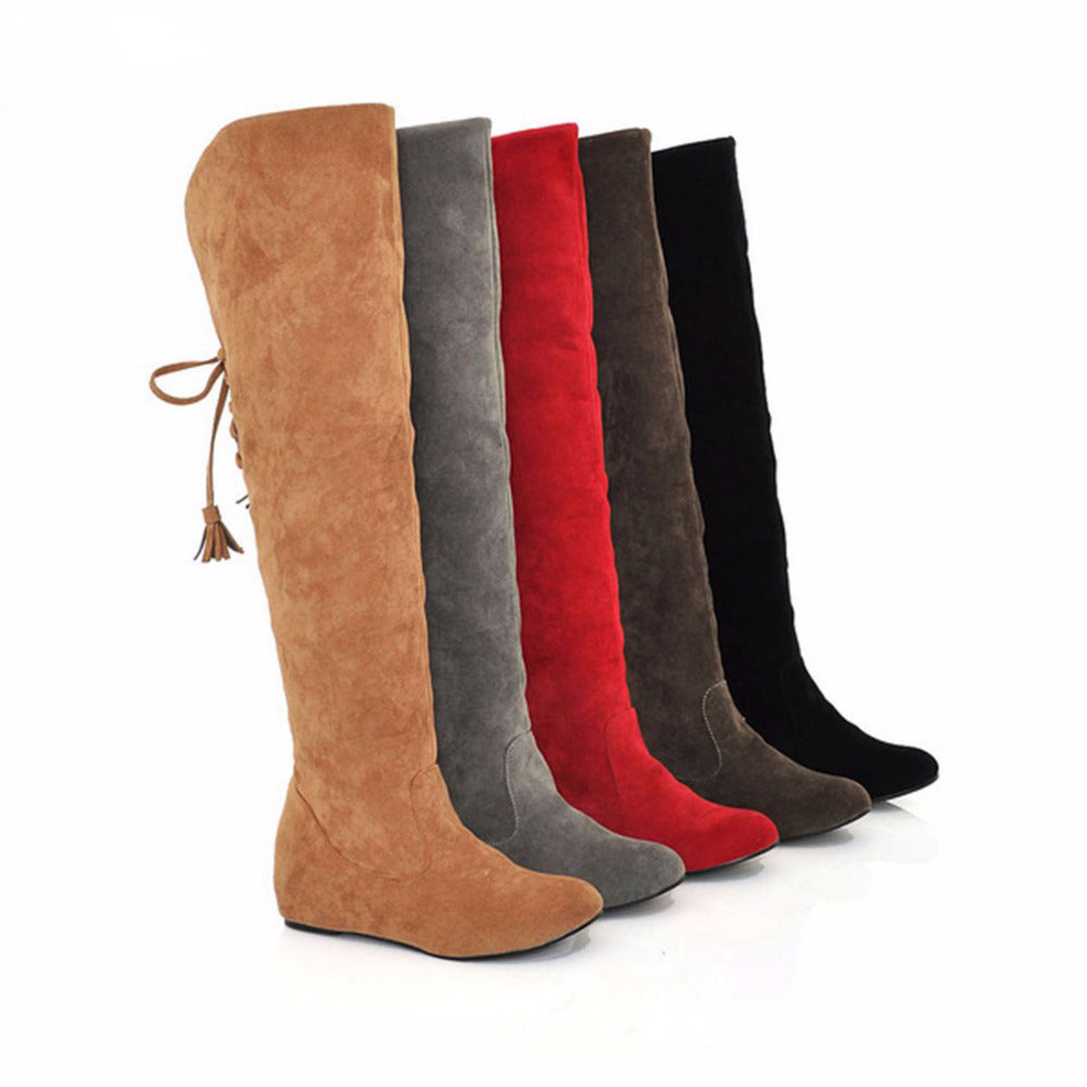 3712ce41582 Womens Thigh High Boots Stretch Over The Knee Suede Leather Boots Flat –  Essish
