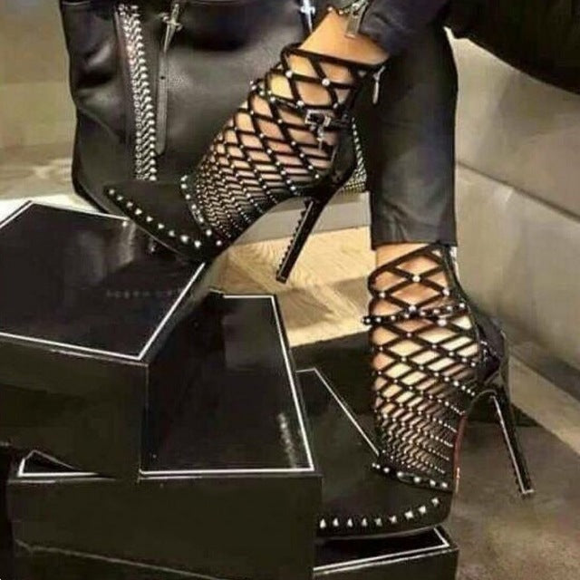 Gladiator Roman Sandals Summer Rivets Studded Cut Out Caged Ankle Boots Stiletto High Heel Women Sexy Shoes Party Bootie