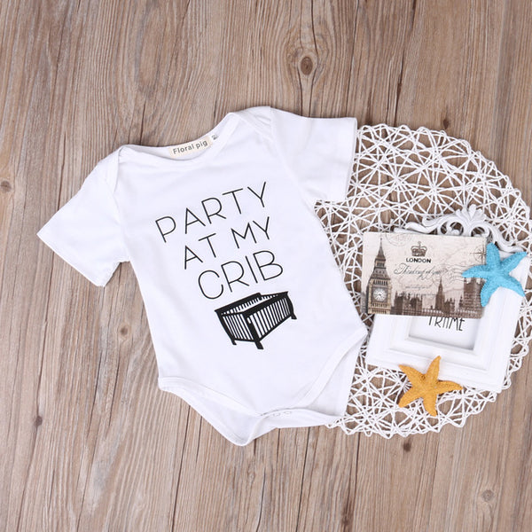 Black and White Newborn Infant Baby Girl Kids Letter Printed Romper Jumpsuit Clothes Outfits