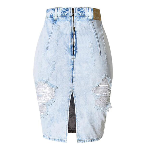 Back Split Sexy Women Ripped Jeans Skirts Denim Bodycon Skirt