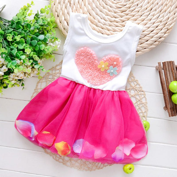 Fashion Colorful Mini Tutu Dress Petal Hem Dress Floral Clothes Princess Baby Dress Summer For Baby Dresses Girl