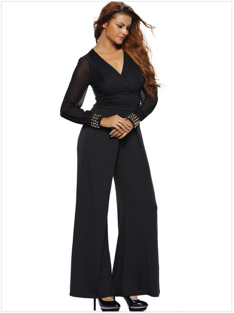 Women's Elegant Bodycon Plus Size V-neck Jumpsuits