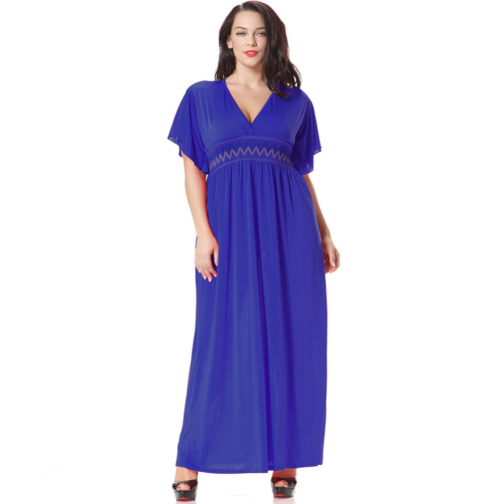 Plus Size Bohemian Short Sleeve Dresses Summer Women Maxi Long Dress ...