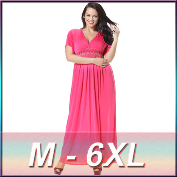Plus Size Bohemian Short Sleeve Dresses Summer Women Maxi Long Dress Big Large Size Women Vestidos Beach Summer Dress 6XL