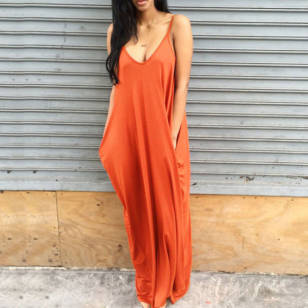 Deep V Shoulder Strap Women Summer Loose Long Maxi Party Dresses