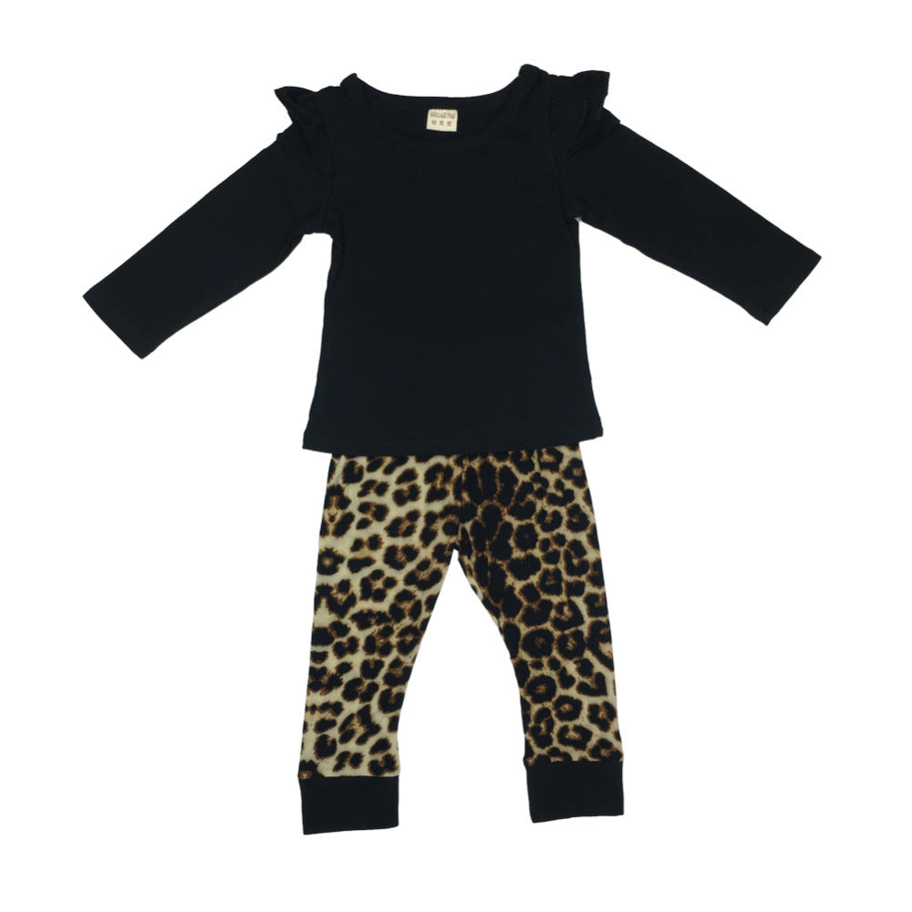 f8c88bcd807 ... Baby Girl Clothes Baby Romper Black T-shirts+Leopard Pants Infant  Newborn Baby Girls